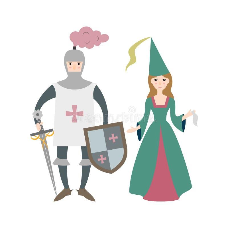 Kreskówka rycerz z princess na białym tle Wektorowy illustr ilustracji
