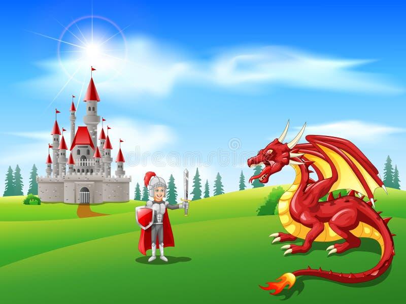 Kreskówka rycerz z srogim smokiem royalty ilustracja