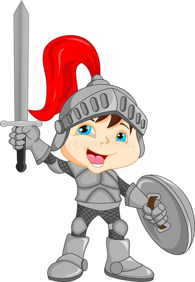 Kreskówka rycerza chłopiec royalty ilustracja