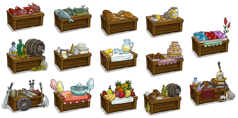 Kreskówka rynku drewniany stojak z różnymi towarami ilustracja wektor