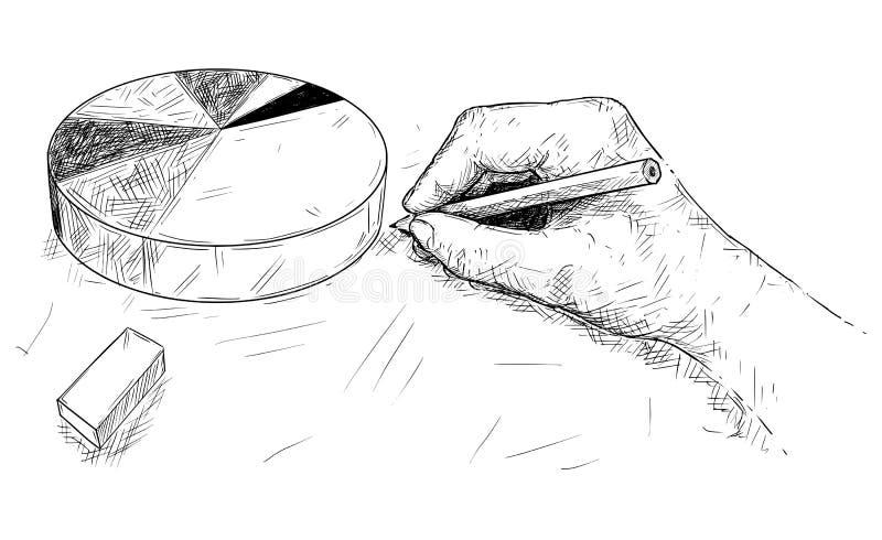 Kreskówka Rysuje Pasztetową mapę lub wykres ręka royalty ilustracja