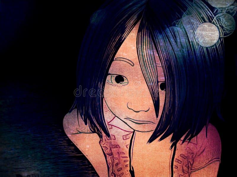 Kreskówka rysunek Młoda Smutna dziewczyna royalty ilustracja