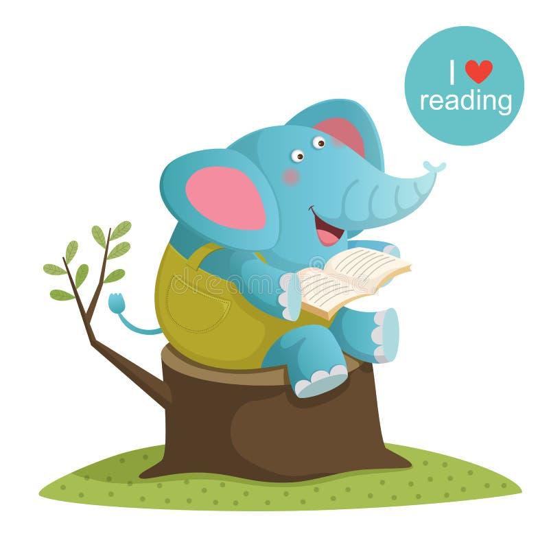 Kreskówka słoń czyta książkę royalty ilustracja