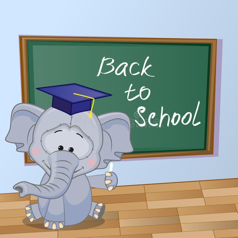Kreskówka słoń napisał w sala lekcyjnej ilustracja wektor
