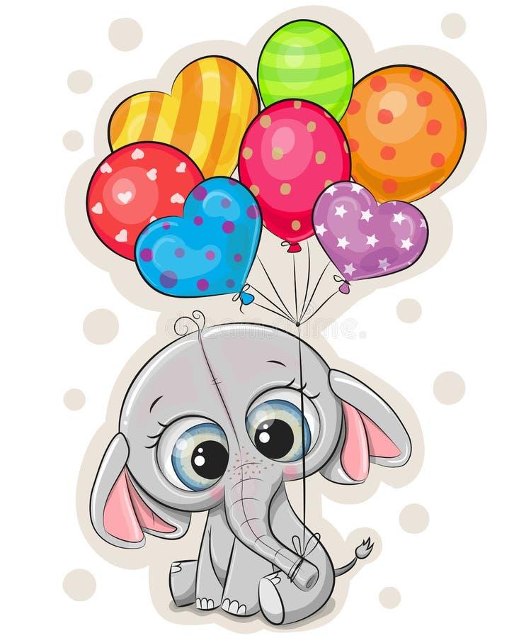 Kreskówka słoń z balonami na białym tle ilustracji