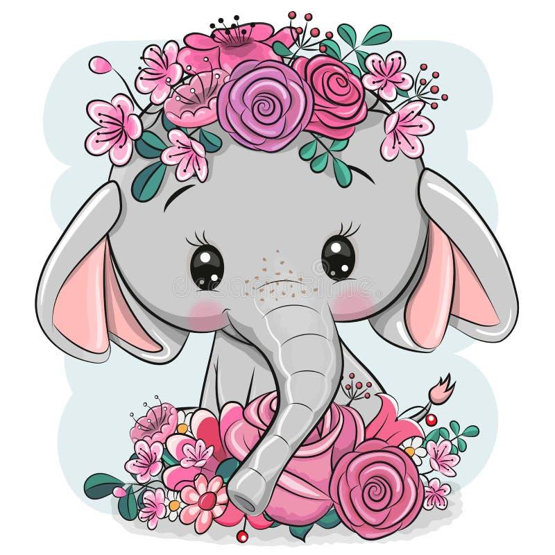 Kreskówka słoń z kwiatami na białym tle royalty ilustracja