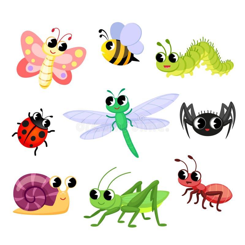 Kreskówka słodkich owadów Motyl, mrówka, biedronka, pszczoła, pająk, ślimak, gąsienica, ważka, konik polny fotografia royalty free