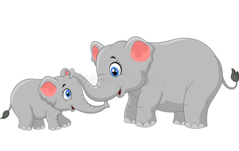 Kreskówka słonia macierzysty i łydkowy więzi uczuciowa związek ilustracja wektor