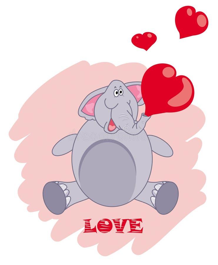 Kreskówka słonia podmuchowy serce kształtujący bąble royalty ilustracja