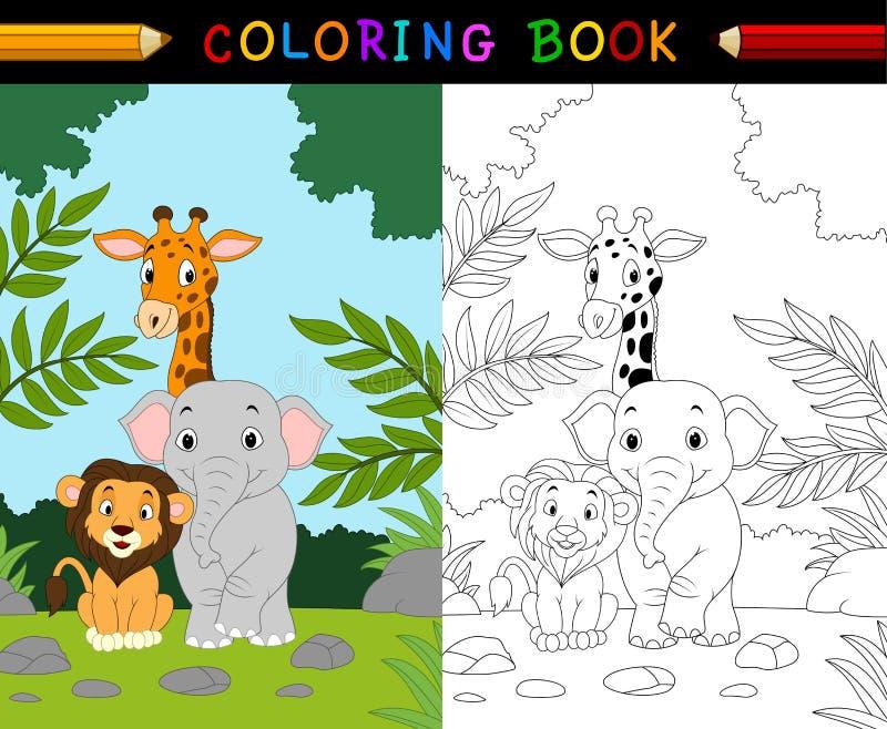Kreskówka safari kolorystyki zwierzęca książka royalty ilustracja