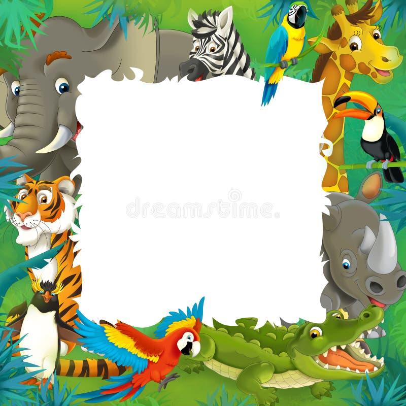 Kreskówka safari rama - dżungla - royalty ilustracja