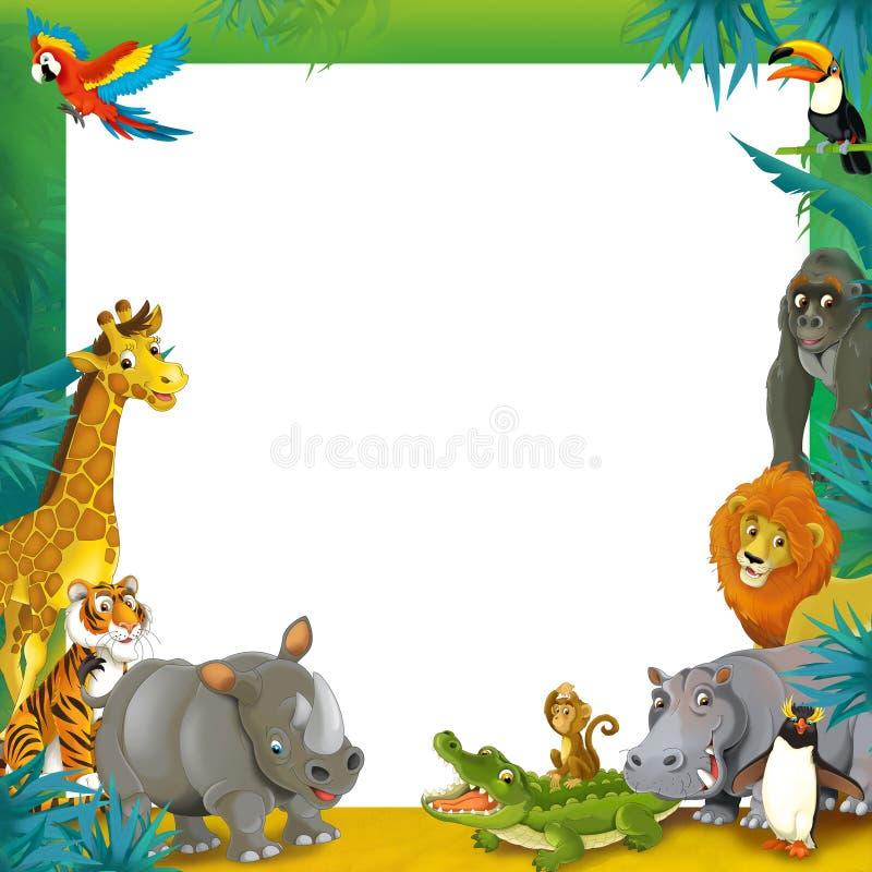 Kreskówka safari ramowy rabatowy szablon - ilustracja dla dzieci - dżungla - ilustracja wektor