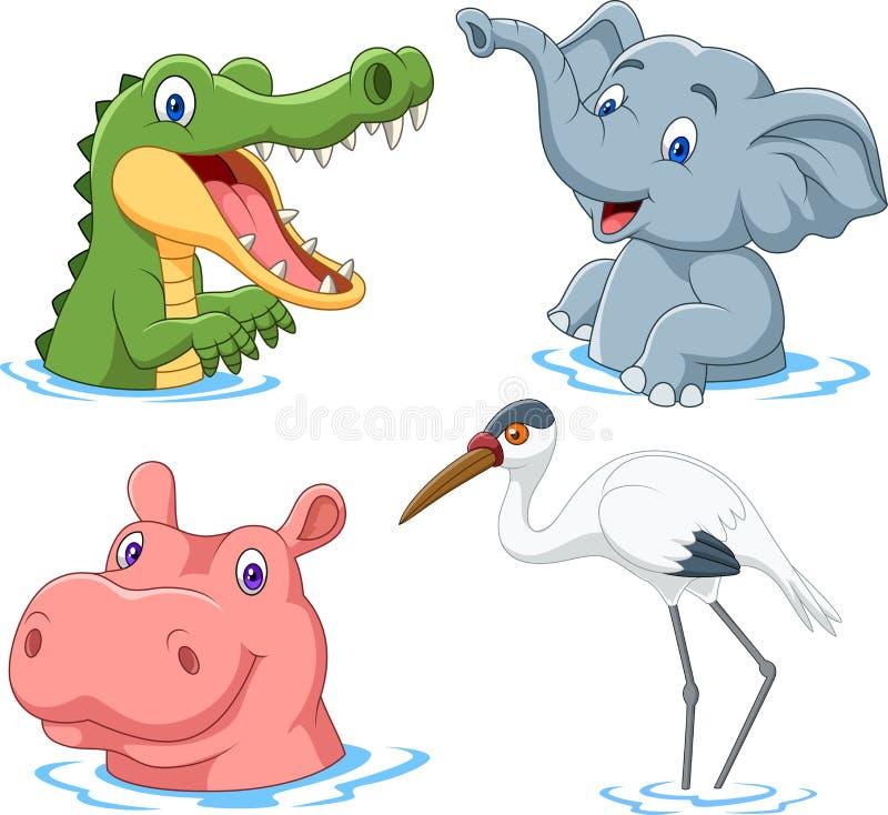 Kreskówka safari zwierzę na wodzie royalty ilustracja
