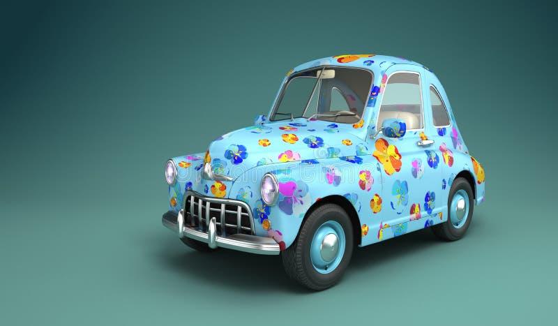 Kreskówka samochód z kwiatu drukiem royalty ilustracja