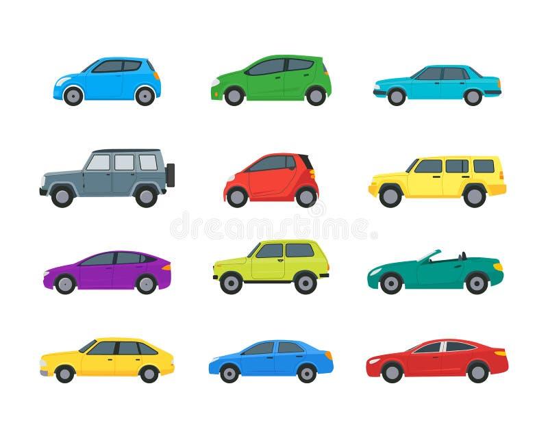 Kreskówka samochodów koloru ikony Ustawiać wektor ilustracji