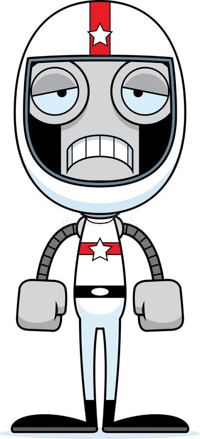Kreskówka samochodu wyścigowego kierowcy Smutny robot ilustracji