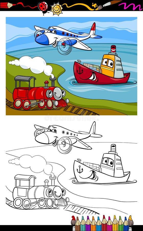 Kreskówka samolotu pociągu statku kolorystyki strona ilustracji