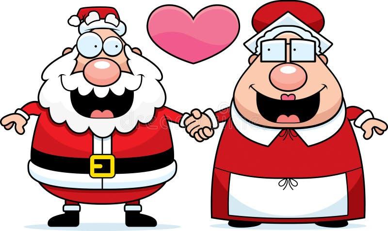 Kreskówka Santa Claus Kochający i Mrs ilustracja wektor
