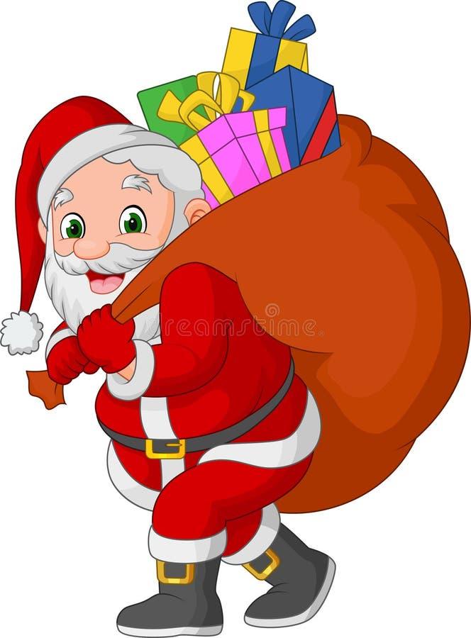 Kreskówka Santa Claus niesie worek prezenty ilustracja wektor
