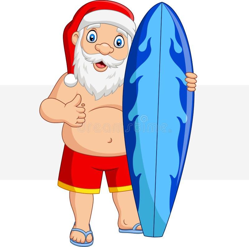 Kresk?wka Santa Claus trzyma surfboard dawa? i aprobaty ilustracji