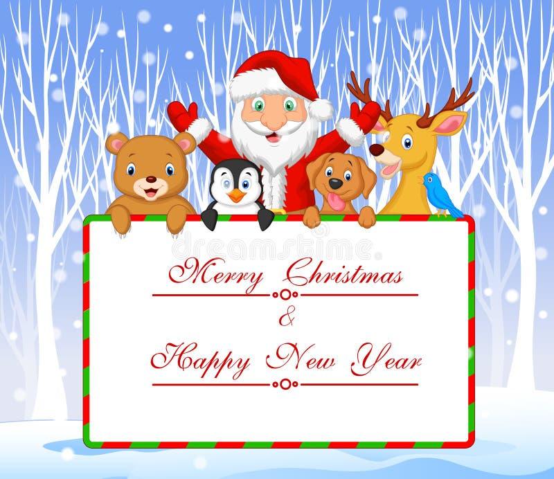 Kreskówka Santa i przyjaciela mienia Bożenarodzeniowy powitanie z zimy tłem ilustracja wektor