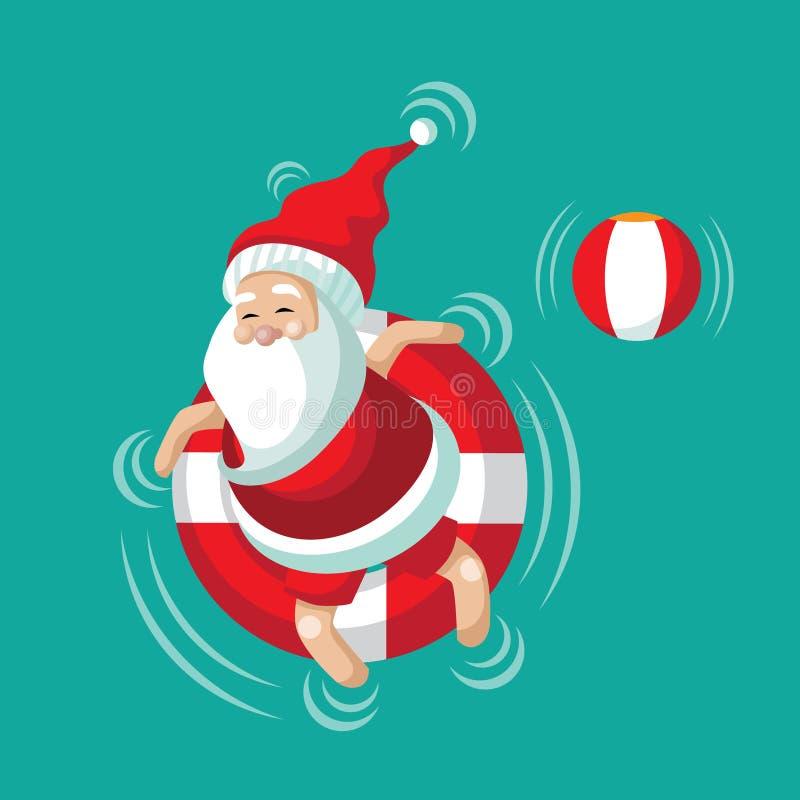 Kreskówka Santa relaksuje w wewnętrznej tubce royalty ilustracja