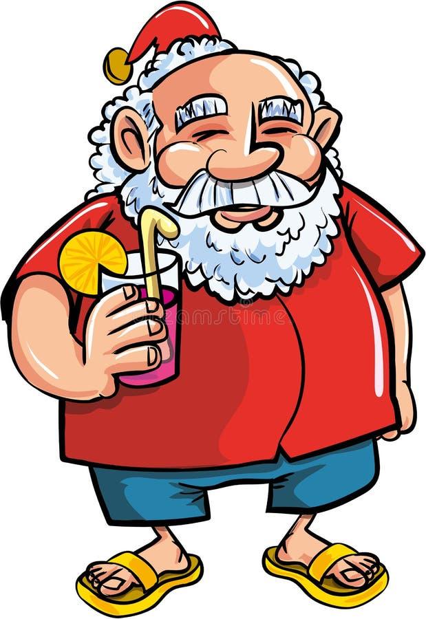 Kreskówka Santa relaksuje z koktajlem ilustracja wektor