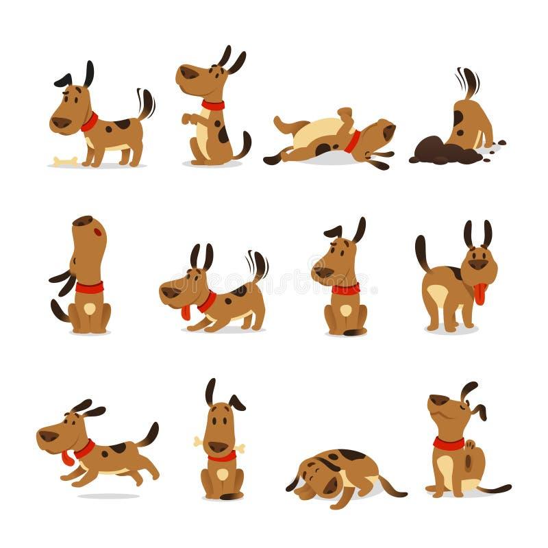 kreskówka set psi graficzny ilustracyjny Pies sztuczki, akcja brudu łasowania zwierzęcia domowego jedzenia kopiący skokowy sypial royalty ilustracja