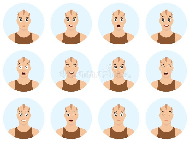 Kreskówka skinhead z różnymi emocjami i wyrazem twarzy Szczęśliwy, smutny, płacz męczący, zaskakujący, w miłości, buziaka, śmiech ilustracji