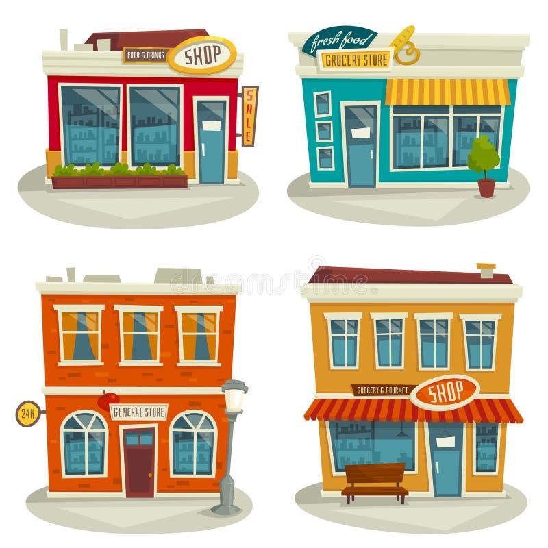 Kreskówka sklepowy budynek ustawia odosobnionego na białej, wektorowej ilustraci, ilustracja wektor