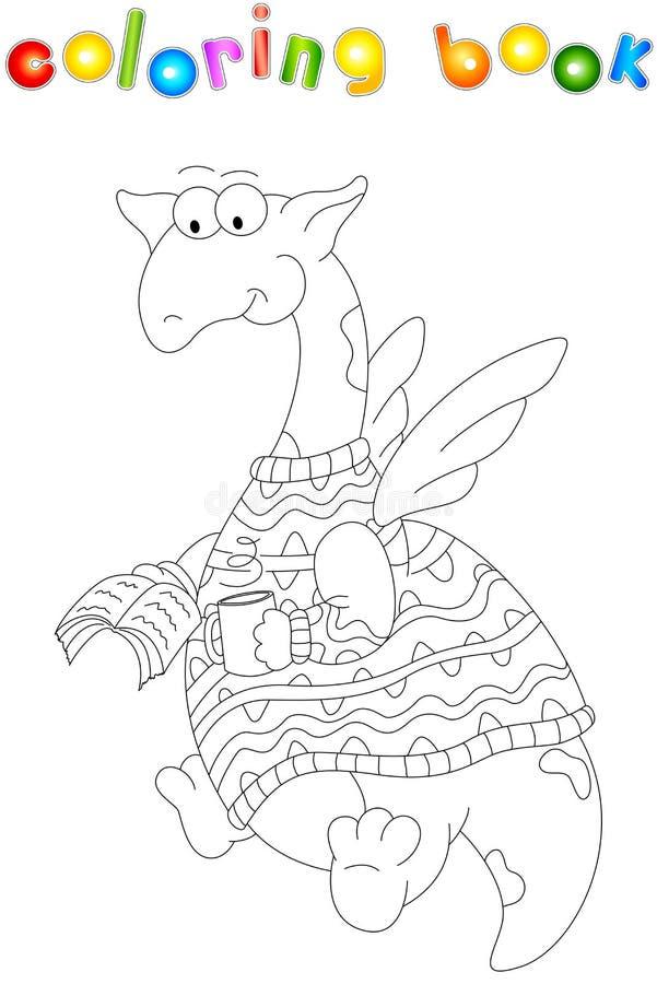 Kreskówka smok w pulowerze czyta książkę Kolorystyki książka dla dzieciaków ilustracji