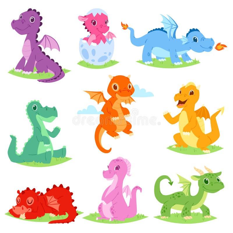 Kreskówka smoka dziecka lub dragonfly dinosaura wektorowy śliczny ilustracyjny ustawiający Dino charaktery od od dzieciak bajki royalty ilustracja