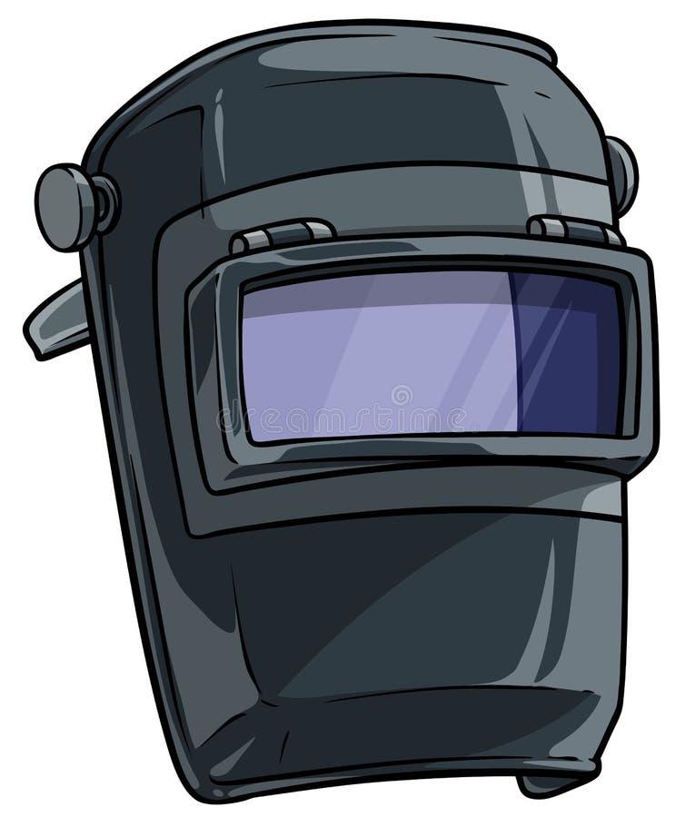 Kreskówka spawu maska z jasnym szklanym naliczkiem ilustracja wektor