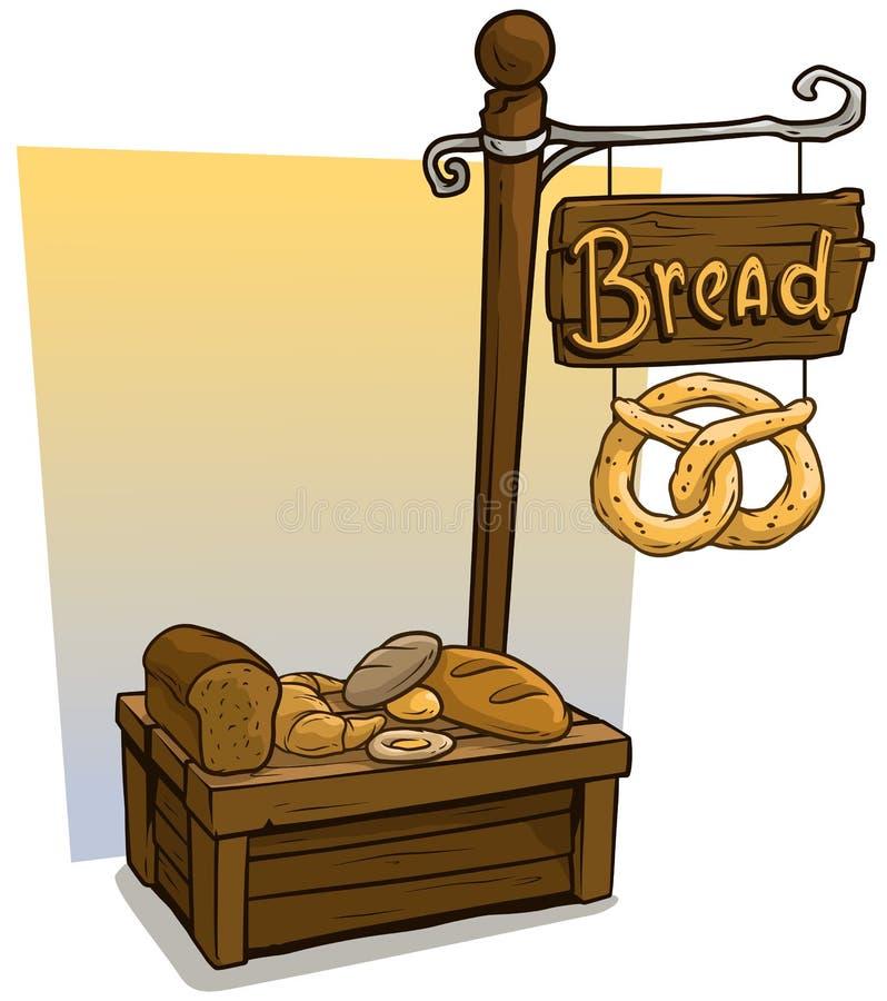 Kreskówka sprzedawcy budka piekarnianego rynku drewniany stojak ilustracja wektor