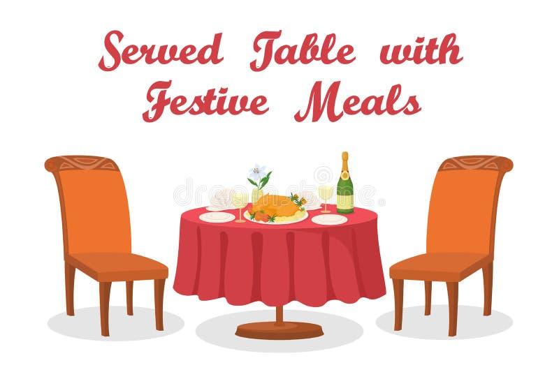 Kreskówka stół z posiłkiem, ilustracji