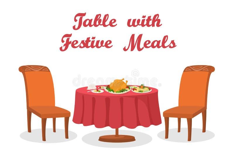 Kreskówka stół z posiłkiem, Odizolowywającym royalty ilustracja