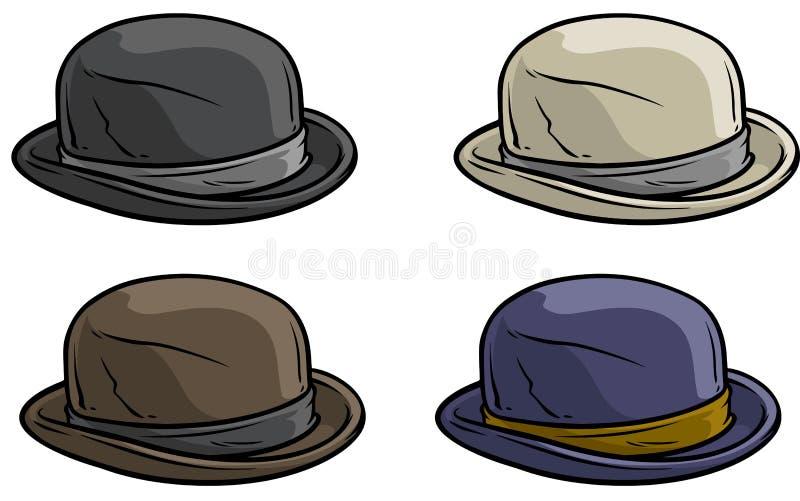 Kreskówka starego dżentelmenu ikony retro kapeluszowy wektorowy set ilustracja wektor