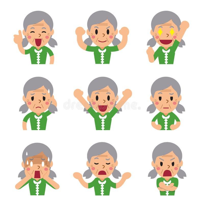 Kreskówka starsza kobieta stawia czoło pokazywać różne emocje ilustracja wektor