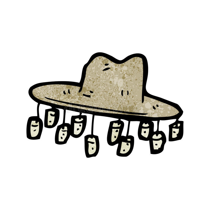 kreskówka stary australijski kapelusz ilustracja wektor