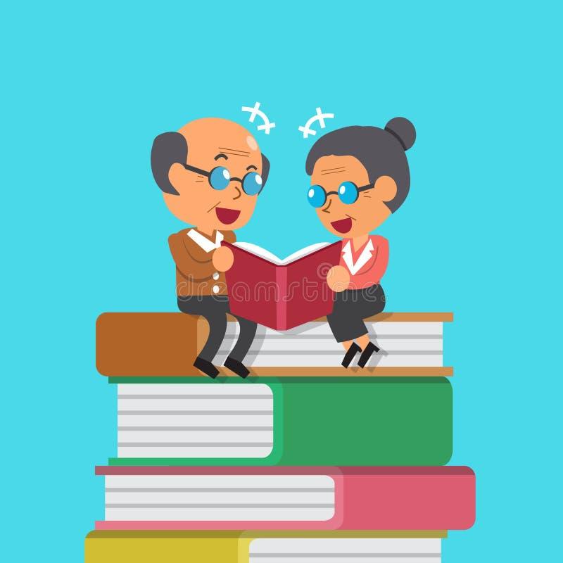 Kreskówka stary człowiek i starej kobiety czytelnicza książka ilustracja wektor