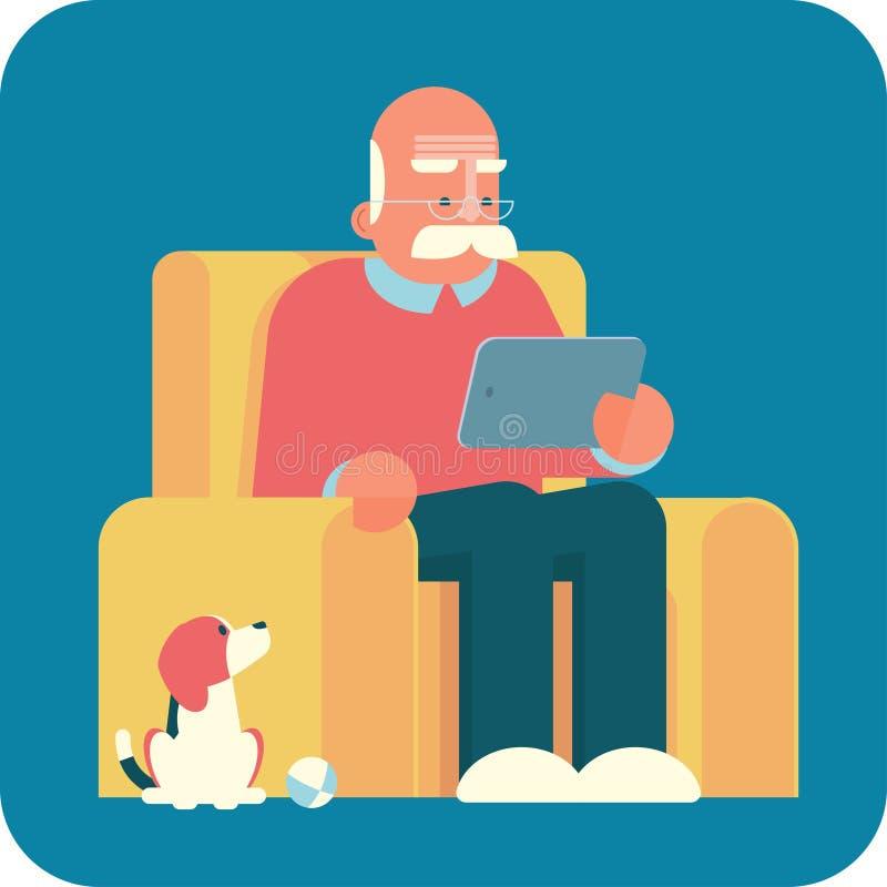 Kreskówka stary człowiek używa pastylka komputer osobistego ilustracji