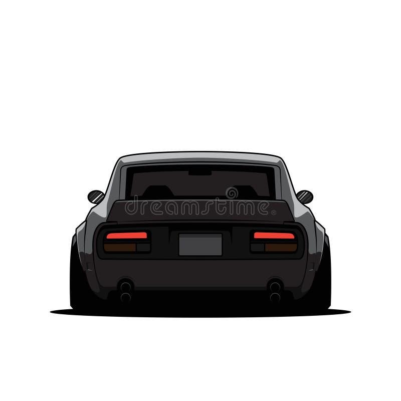 Kreskówka stary Japan nastrajający samochód odizolowywający widok z powrotem r?wnie? zwr?ci? corel ilustracji wektora royalty ilustracja
