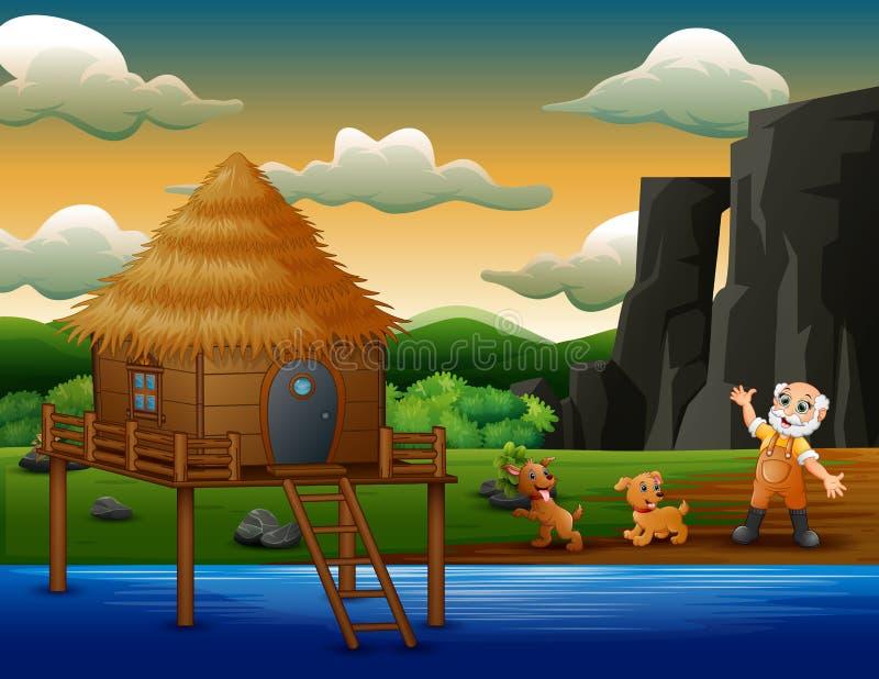 Kreskówka stary rolnik z jego psami rzeką ilustracja wektor