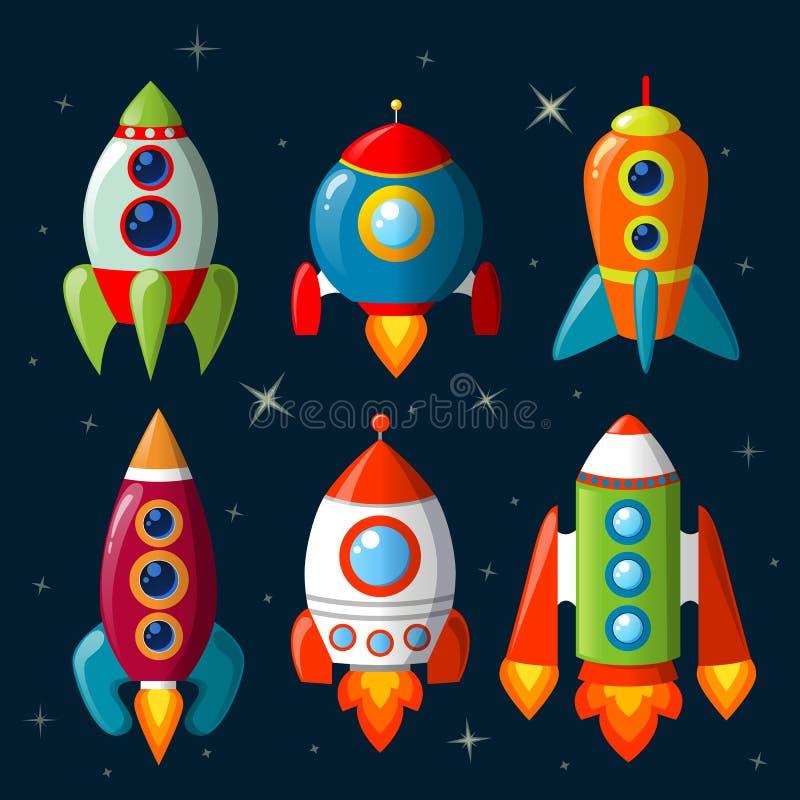 Kreskówka statku kosmicznego set obraz stock