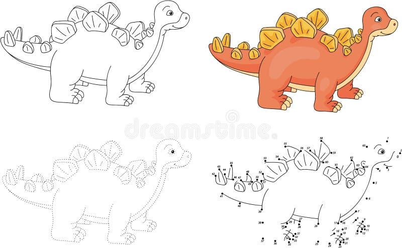 Kreskówka stegozaur również zwrócić corel ilustracji wektora Kropka kropkować grę dla ki ilustracji