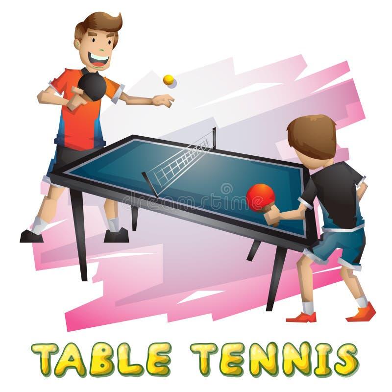 Kreskówka stołowego tenisa wektorowy sport z oddzielonymi warstwami dla gry i animaci royalty ilustracja