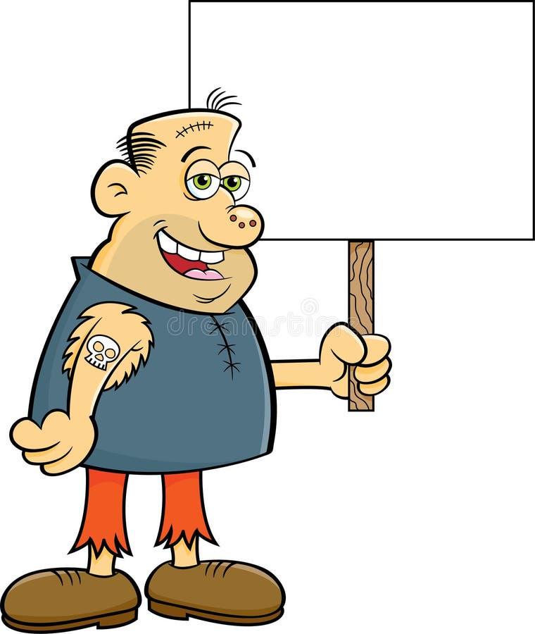 Kreskówka straszliwy charakter trzyma znaka royalty ilustracja