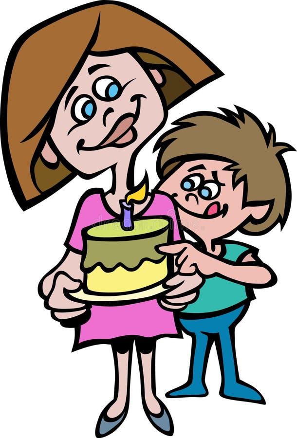 Kreskówka styl matka i jej syn z tortem ilustracja wektor