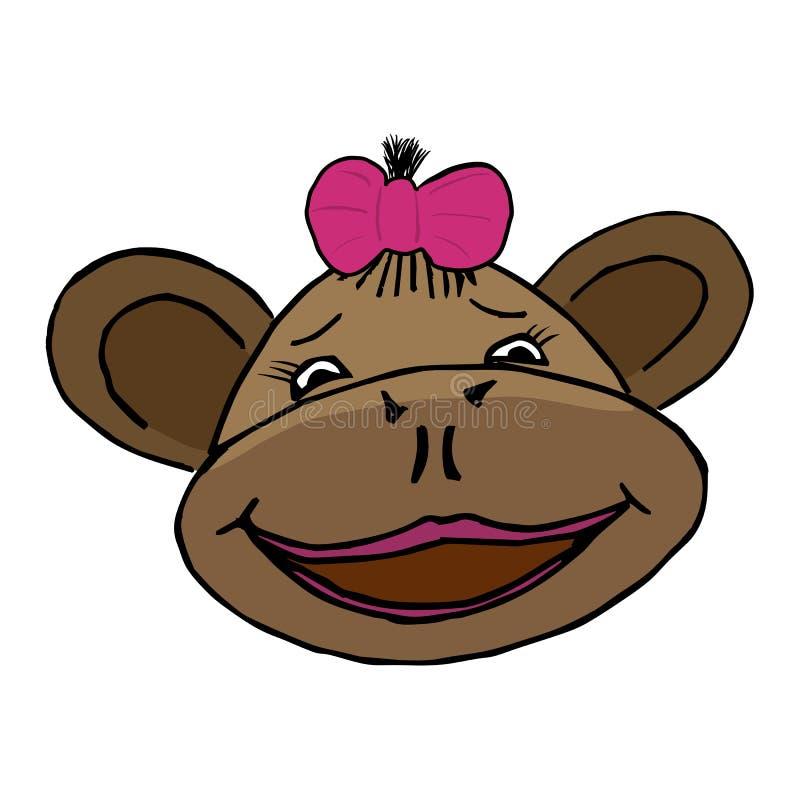 Kreskówka stylu małpy głowa ilustracja wektor
