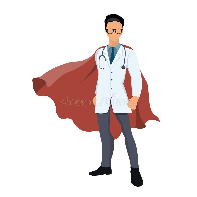 Kreskówka super bohatera lekarka z czerwonym przylądkiem royalty ilustracja
